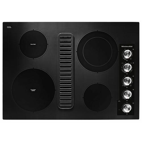 """KitchenAid - 30"""" Electric Downdraft Cooktop with 4 Elements - Black"""