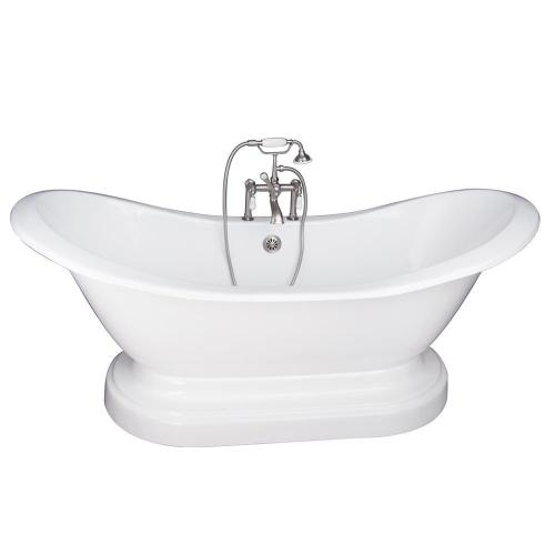 "Marshall 71"" Cast Iron Double Slipper Tub Kit - Brushed Nickel Accessories"
