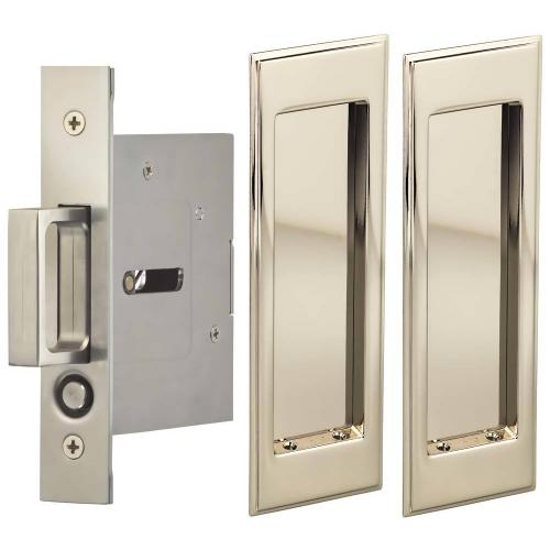 Product Image - Passage Pocket Door Lock with Traditional Rectangular Trim featuring Mortise Edge Pull in (US14 Polished Nickel Plated, Lacquered)