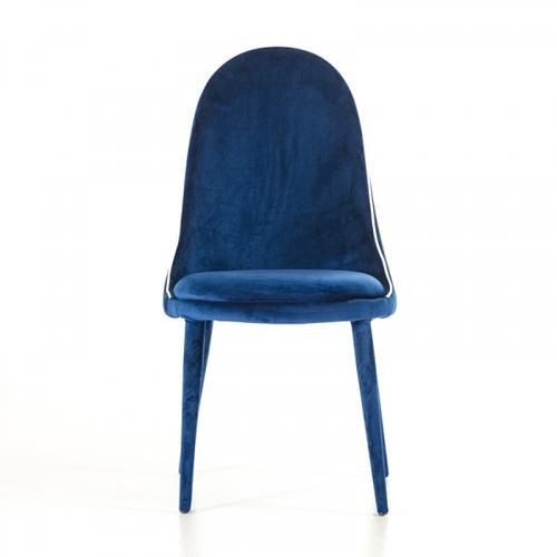 VIG Furniture - Klamath - Modern Blue & White Fabric Dining Chair (Set of 2)