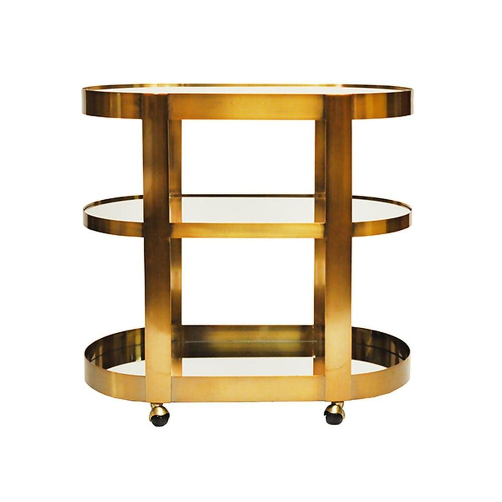 Three Tier Bar Cart With Inset Mirorr In Antique Brass