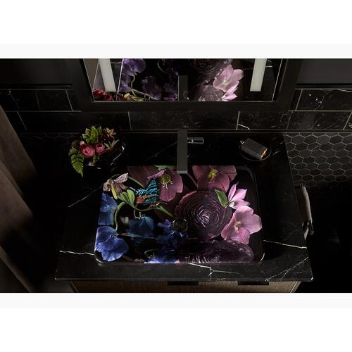 White In Midnight Floral On Carillon Rectangle Wading Pool Vessel Bathroom Sink