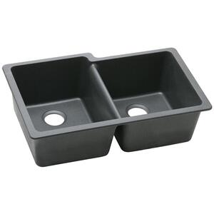 "Elkay Quartz Classic 33"" x 20-1/2"" x 9-1/2"", Offset Double Bowl Undermount Sink, Black Product Image"