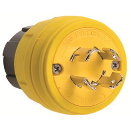 28W09 Watertight, Non-Grounding, NEMA 4X/6P Locking Plug,Yellow