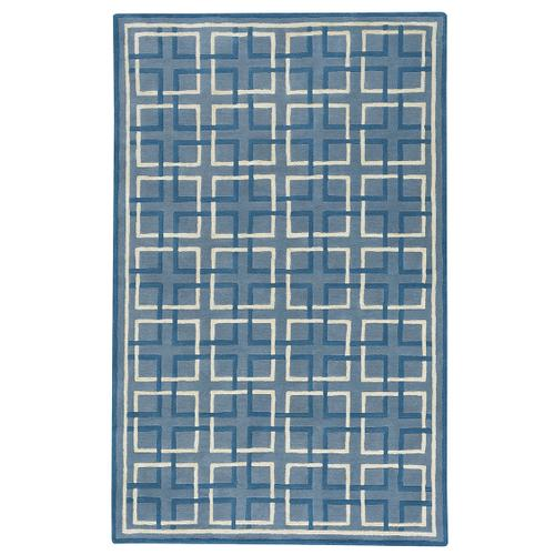 Square Trellis Lt. Blue Hand Tufted Rugs