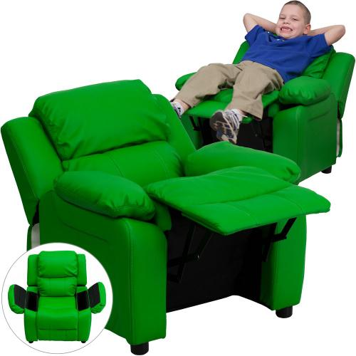 Deluxe Padded Contemporary Green Vinyl Kids Recliner with Storage Arms