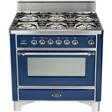 "Burgundy with Chrome Trim 36"" - 6 Burner Gas Range"