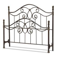 See Details - Evanston Metal Headboard and Footboard Bed Panels with Camelback Arches and Soft Gold Highlighted Castings, Blackened Copper Finish, Queen