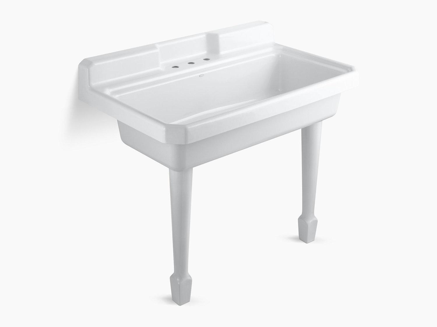 """White 48"""" X 28"""" X 41-11/16"""" Top-mount or Wall-mount Utility Sink With 3 Faucet Holes On Center Deck"""
