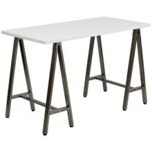 See Details - White Computer Desk with Brown Metal Frame