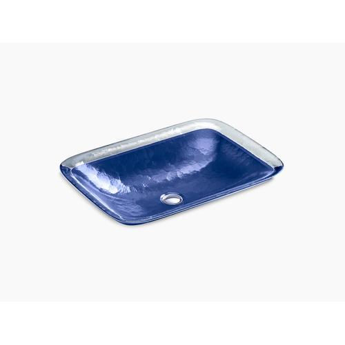 Opaque Sapphire Glass Vessel Bathroom Sink In Opaque Sapphire