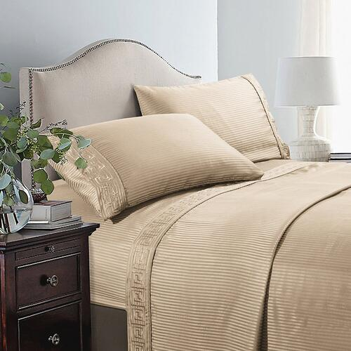 Millano Embroidered Greek Key 4 Piece Sheet Set - Double / Taupe