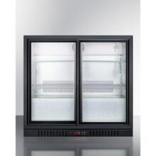Commercial Back Bar Beverage Center for Freestanding Use Designed for the Display and Refrigeration of Beverages and Sealed Food, With Sliding Glass Doors and Black Cabinet; Replaces Scr700