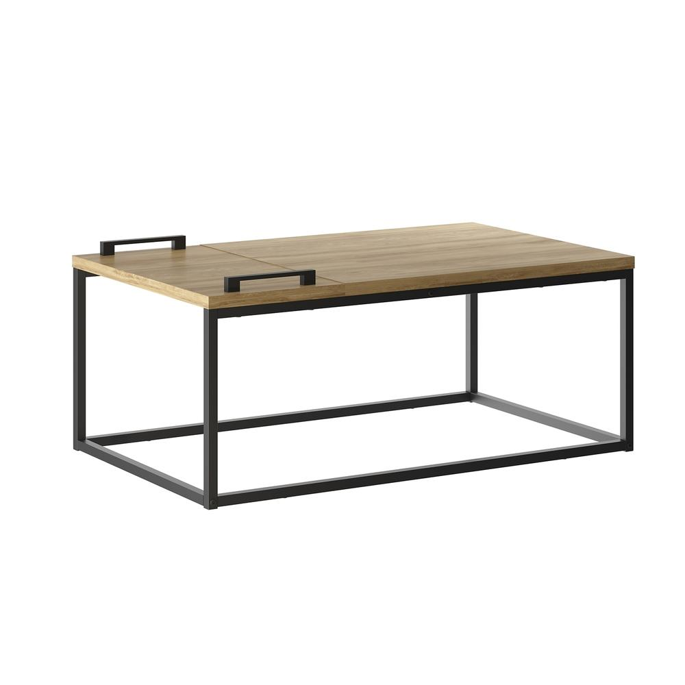 The Noa Cocktail Table Part Of Our Kd Collection In Oak Melamine With Black Painted Metal Frame And Removable Tray.