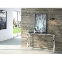 See Details - Modrest Agar Modern Glass & Stainless Steel Console Table