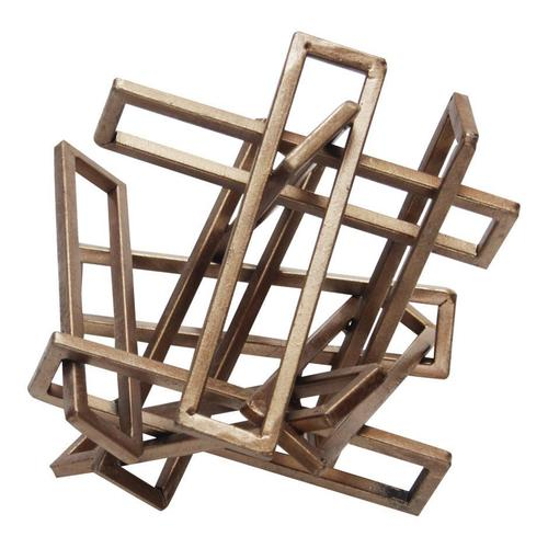 Tangled Rectangles Sculpture Gold Small