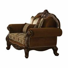 ACME Jardena Chair w/2 Pillows - 50657 - Fabric & Cherry Oak