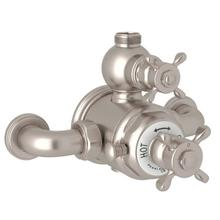 Edwardian Exposed Thermostatic Valve with Volume and Temperature Control - Satin Nickel with Cross Handle