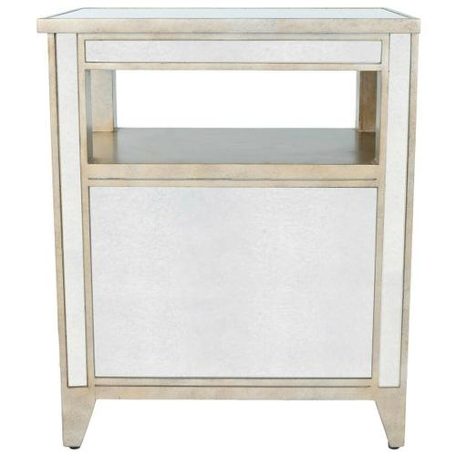 Trimmed in antique pewter and crafted from Birch Wood solids, this mirrored chairside chest is a beautiful touch of class in any space! The nicely sized drawers, add storage possibilities to this delightful piece!