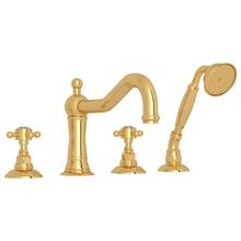 See Details - Acqui 4-Hole Deck Mount Column Spout Tub Filler with Handshower - Italian Brass with Crystal Cross Handle