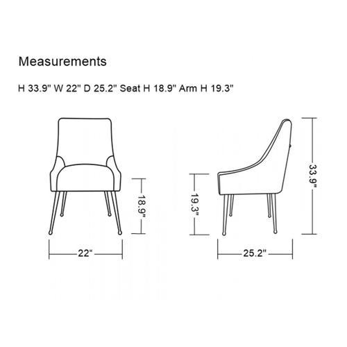 Gallery - Modrest Castana Modern Blue Velvet & Gold Dining Chair (Set of 2)