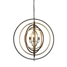 "39""L x 39""H Metal Ringed Pendant, Multi Finish"