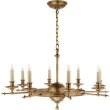 View Product - E. F. Chapman Leaf And Arrow 8 Light 35 inch Antique-Burnished Brass Chandelier Ceiling Light