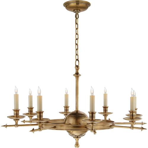Visual Comfort - E. F. Chapman Leaf And Arrow 8 Light 35 inch Antique-Burnished Brass Chandelier Ceiling Light