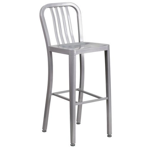 30'' High Silver Metal Indoor-Outdoor Barstool with Vertical Slat Back
