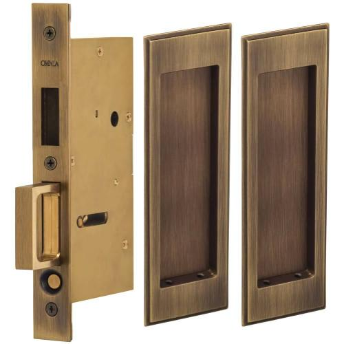 Pair Dummy Pocket Door Lock with Traditional Rectangular Trim featuring Mortise Edge Pull in (US5 Antique Brass, Lacquered)