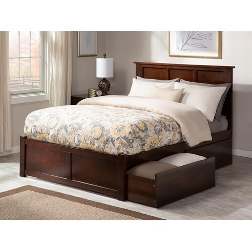 Madison Full Flat Panel Foot Board with 2 Urban Bed Drawers Walnut