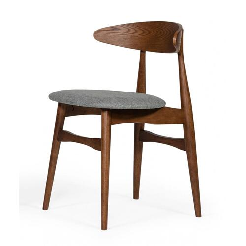 VIG Furniture - Modrest Prospect - Modern Grey Fabric & Walnut Dining Chair (Set of 2)