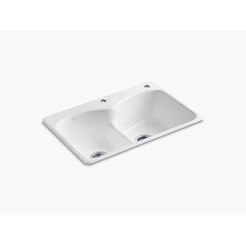"White 33"" X 22"" X 9-5/8"" Top-mount Smart Divide Double-equal Kitchen Sink With One Faucet Hole and One Accessory Hole"
