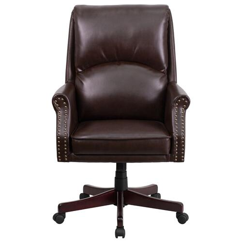 High Back Pillow Back Brown Leather Executive Swivel Chair with Arms