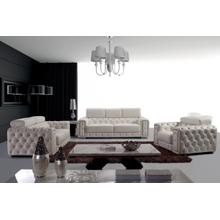 Product Image - Divani Casa Lumy - Modern Tufted White Leather Sofa Set with Crystals