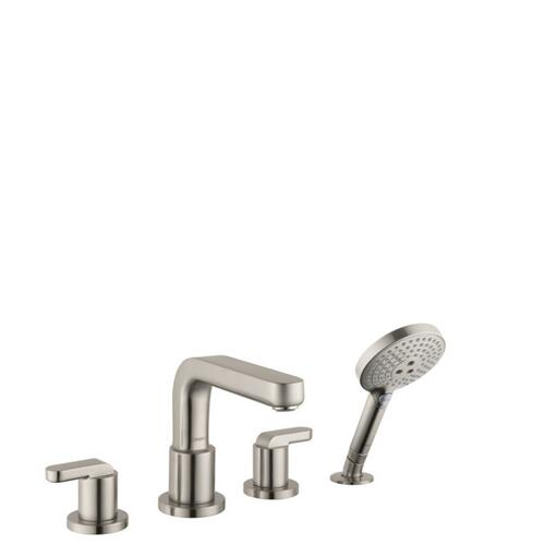 Brushed Nickel 4-Hole Roman Tub Set Trim with Lever Handles and 1.75 GPM Handshower