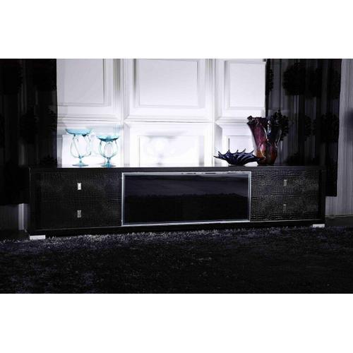 Gallery - A&X Leopold Modern Black Crocodile TV Stand