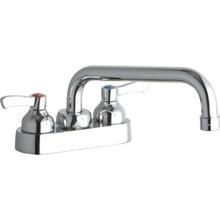 """See Details - Elkay 4"""" Centerset with Exposed Deck Faucet with 8"""" Tube Spout 2"""" Lever Handles Chrome"""