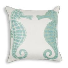 """L267 Aqua Seahorse Pillow 18"""" X 18"""""""