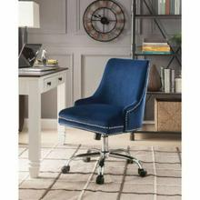 ACME Yuval Office Chair - 92500 - Blue Velvet & Chrome