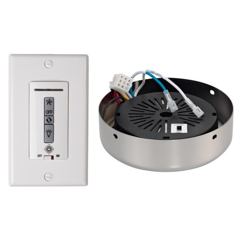 Hardwired wall remote control, receiver, white & almond switch plates.BRUSHED STEEL receiver hub. Fan reverse, speed, and downli
