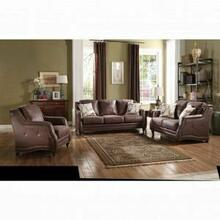ACME Nickolas Sofa w/2 Pillows - 52065 - Chocolate Polished Microfiber