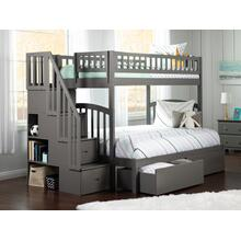 Westbrook Staircase Bunk Bed Twin over Full with Urban Bed Drawers in Atlantic Grey