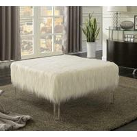 Contemporary White Ottoman Product Image
