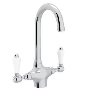 Polished Chrome San Julio Single Hole C-Spout Bar/Food Prep Faucet with Porcelain Lever Product Image