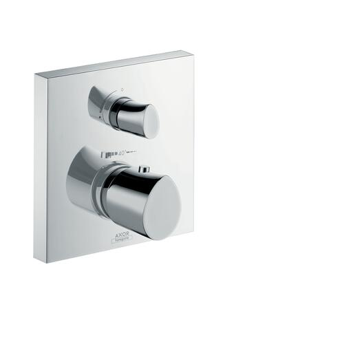 Brushed Brass Thermostat for concealed installation with shut-off valve