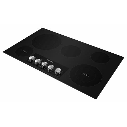 """KitchenAid - 36"""" Electric Cooktop with 5 Elements and Knob Controls - Black"""