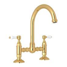 See Details - San Julio Deck Mount C-Spout Bridge Kitchen Faucet - Italian Brass with White Porcelain Lever Handle