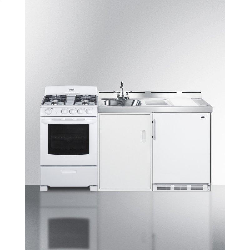 "72"" Wide All-in-one Kitchenette With Gas Range"