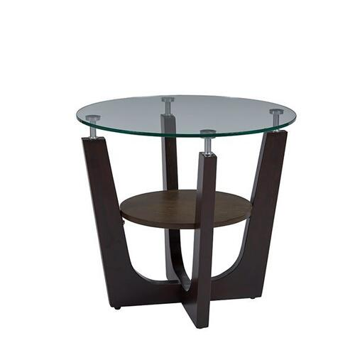 Round Glass Top End Table - Espresso Finish
